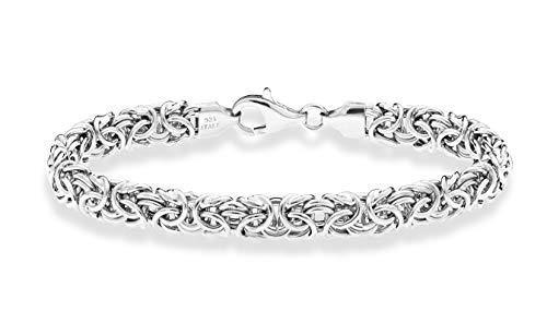 Miabella 925 Sterling Silver Italian Byzantine Bracelet for Women 6.5, 7, 7.25, 7.5, 8 Inch Handmade in Italy (6.5 Inches (extra small))