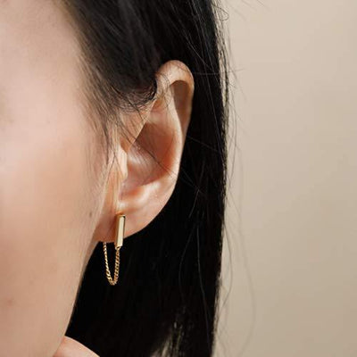 S.Leaf Sterling Silver Stud Earrings Bar with Chain Dangle Earrings Gold Earrings for Women (gold)