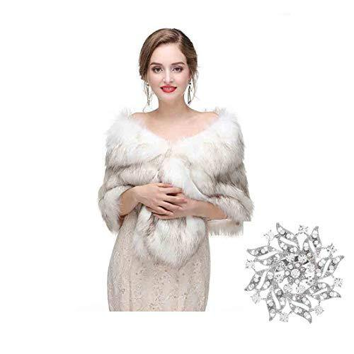 Yfe Women's Faux Fur Wraps and Shawls Wedding Fur Stole Shrug 1920 Faux Fur Scarf Coat (White)