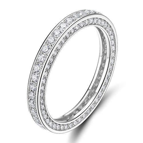 925 Sterling Silver Rings Cubic Zirconia Eternity Engagement Wedding Band size 4.5 (Silver, 4.5)