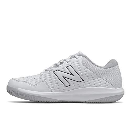 New Balance womens 696 V4 Hard Court Tennis Shoe, White/Pigment, 7.5 US