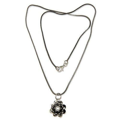 "NOVICA Cultured Freshwater Pearl .925 Sterling Silver Pendant Necklace, 17"" 'Sacred White Lotus'"