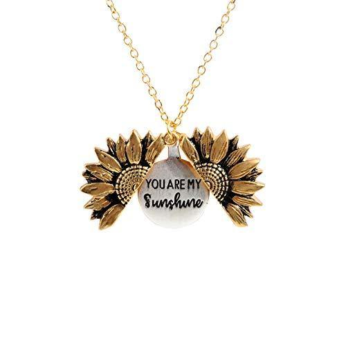 Sloong You Are My Sunshine Engraved Necklace Sunflower Locket Necklace Jewlery for Women girlfriend (A Sunflower)