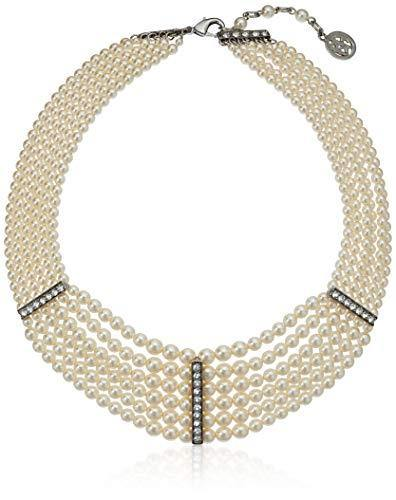 Ben-Amun Jewelry Women's Pearl & Crystal Audrey Pearl Strand 3 Crystal Station Necklace for Bridal Wedding Anniversary, Silver, 14