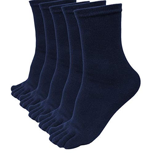 ZEFOTIM ✿ 5 Pairs Running Socks Men Sports Five Finger Toe Socks Elastic Short Soild Socks(Navy,Free Size)