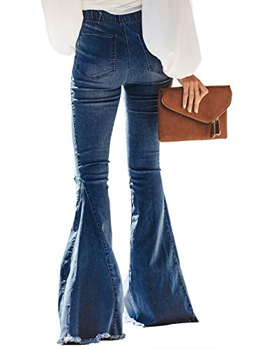 Sidefeel Women Destoryed Flare Jeans Elastic Waist Bell Bottom Tassel Denim Pants Large Sky Blue