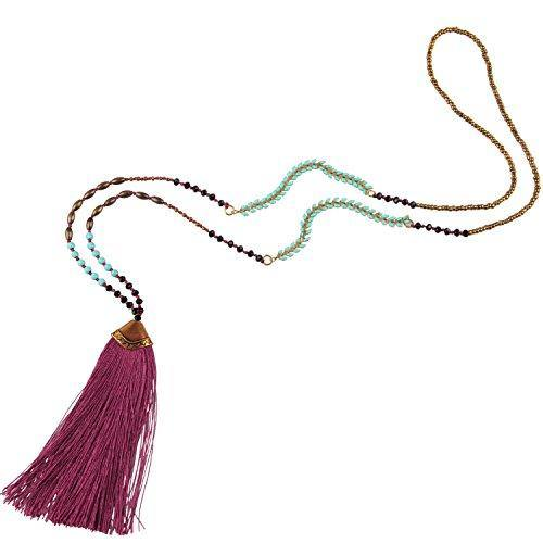KELITCH Turquoise Crystal Beads Strand Necklace Color Tassel Necklace for Women (Red)