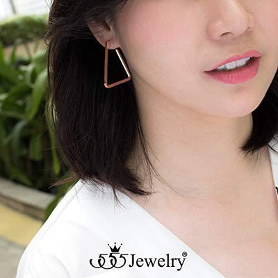 555Jewelry Stainless Steel Large Drop Geometric Stud Hoop Triangle Earrings for Women, Unique Hanging Geometric Triangle Earrings, Statement Modern Earrings For Women, Rose Gold