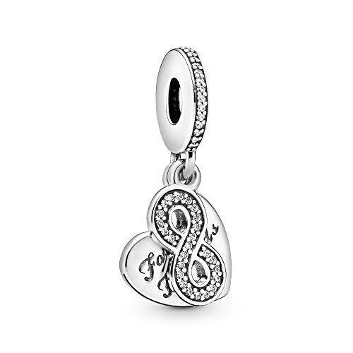 Pandora Jewelry Forever Friends Heart Dangle Cubic Zirconia Charm in Sterling Silver
