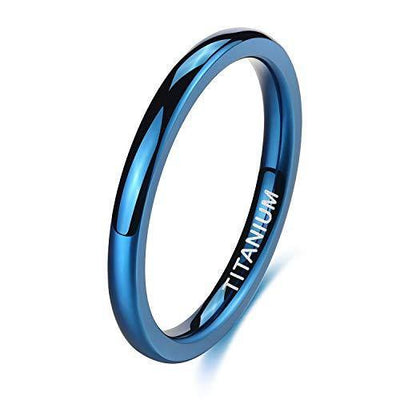 TIGRADE 2mm 4mm Titanium Ring Blue Plain Dome High Polished Wedding Band Comfort Fit Size 4-12, 2mm, Size 7