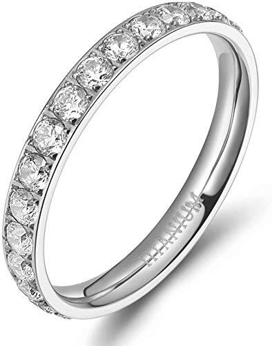 TIGRADE 3mm Women Titanium Engagement Ring Cubic Zirconia Eternity Wedding Band Size 3 to 13.5, Silver, Size 10.5