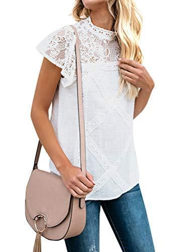 ZXZY Women Cute Lace Blouse Top Short Sleeve Lace Hollow Out Turtle Neck T Shirt White