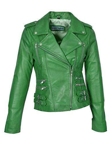 Koza Leathers Women's Lambskin Real Leather Biker Jacket KN422 (XX-Large (Fit to Chest 40), Green)