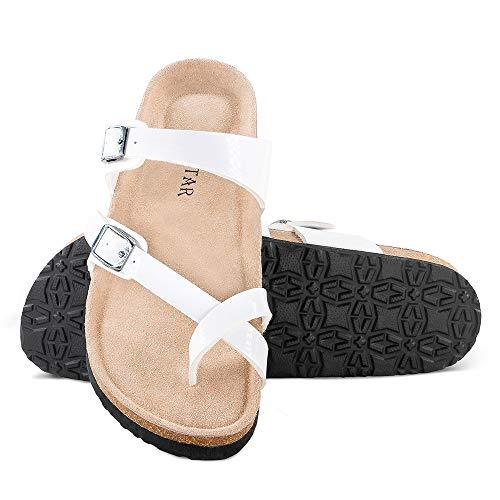 Mayari Leather Sandals,Adjustable Flat Casual Slippers for Women & Ladies, Flip-Flops Ring Open Toe Slide Cork Footbed for Teenagers/Girls White - PRTYA