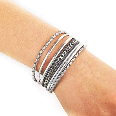 Multilayer Leather Wrap Bracelet Handmade Braided Chain Cuff Bangle Alloy Magnet Buckle Bracelets for Women Girls Birthday Gift