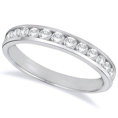 1 Carat (ctw) 14K White Gold Round Diamond Ladies Channel Set Half-Way Semi-Eternity Wedding Anniversary Stackable Ring Band Ultra Premium Collection