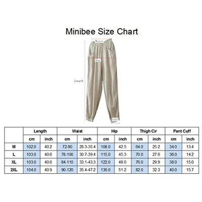 Minibee Women's New Cotton Linen Tapered Cropped Pants Elastic Waist Trousers Beige-M