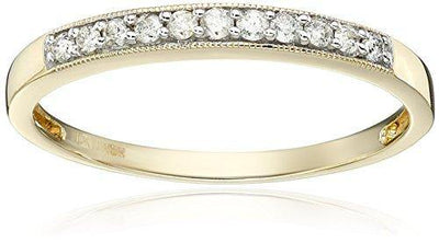 Jewelili 10kt Yellow Gold Diamond Anniversary Ring (1/6 cttw), Size 6