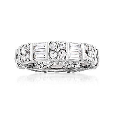 Ross-Simons 2.80 ct. t.w. Baguette and Round CZ Eternity Band in Sterling Silver