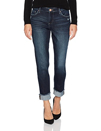 Riders by Lee Indigo Women's Fringe Cuff Boyfriend Jean, Dark wash, 14
