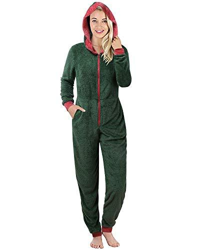 Christmas Pajamas for Women Hooded Long Sleeve Fleece Matching Jumpsuit Green M - PRTYA