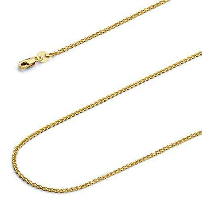 14k REAL Yellow Gold Solid 1.5mm Flat Open wheat Chain Necklace with Lobster Claw Clasp - 18""