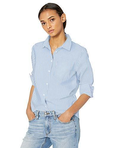 Amazon Essentials Women's Classic-Fit Long Sleeve Button Down Poplin Shirt, French Blue Stripe, M - PRTYA