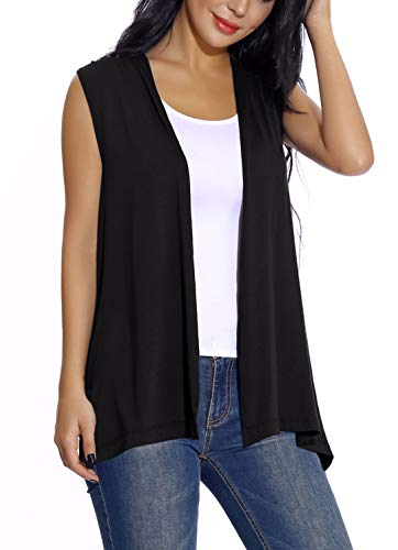 Women's Sleeveless Open Front Cardigan Vest Lightweight Cool Coat (L, Black)