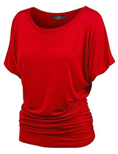 MBJ WT817 Womens Dolman Drape Top with Side Shirring XL RED
