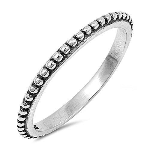 Thin Beaded Bali Stackable Ring New .925 Sterling Silver Vintage Band Size 6