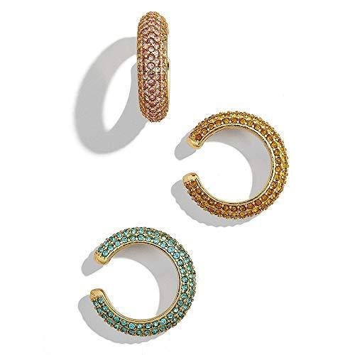DESIMTION Ear Cuffs for Non Pierced Ears Pave Crystal Gold Clip on Conch Summer Cuff Earrings for Women Girls- Set of 3