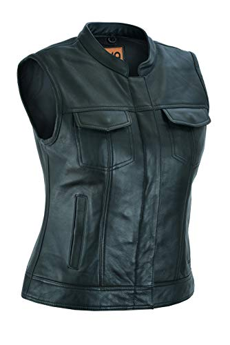 Ruja Women's SOA Style Plain Genuine Leather Vest with Concealed Carry (S) Black