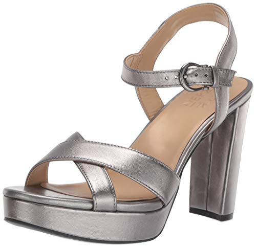Naturalizer Women's MIA Heeled Sandal, Pewter Leather, 8.5 W US