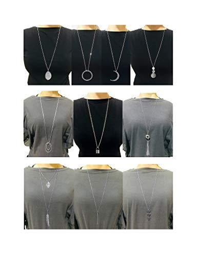 Ofeiyaa 10Pcs Long Pendant Necklace Simple Moon Bar Three Triangle Tassel Lock Sweater Y Shape Punk Chain Choker Necklace for Women Girls Silver Tone