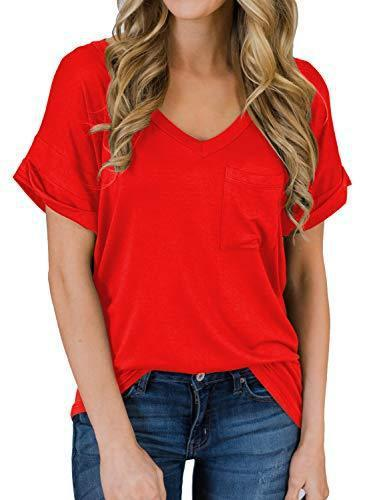 MIHOLL Womens Shirts Casual V Neck Short Sleeve Tops Blouse with Pocket (07_ Red, Small)