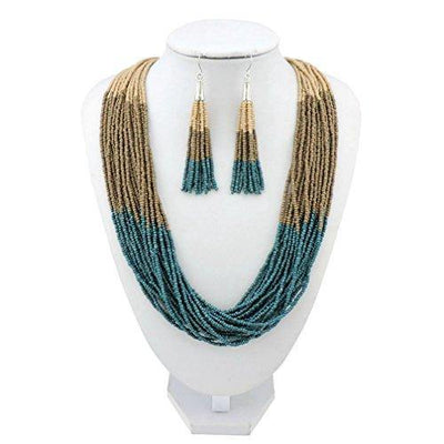 Bocar Multi Layer Beaded Statement Necklace Set Mix Strand Necklace and Earrings for Women Gift (NK-10459-Macabamia+Dark Khaki+Dark Teal)