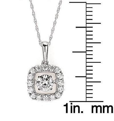 "14K White Gold Dancing Diamond Square Halo Pendant Necklace, 18"" (1/2 cttw., H-I Color, I1-I2 Clarity)"