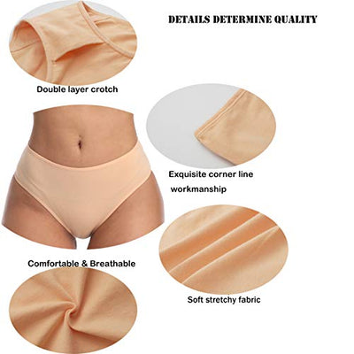 Underwear Women Cotton Soft Bikini Panties Breathable Stretchy Hipster Low Waist Briefs for Ladies (Multicolor) (1 black, 1 gray, 1 beige, 1 light green, 1 pale pinkish gray, 1 light blue, Medium)