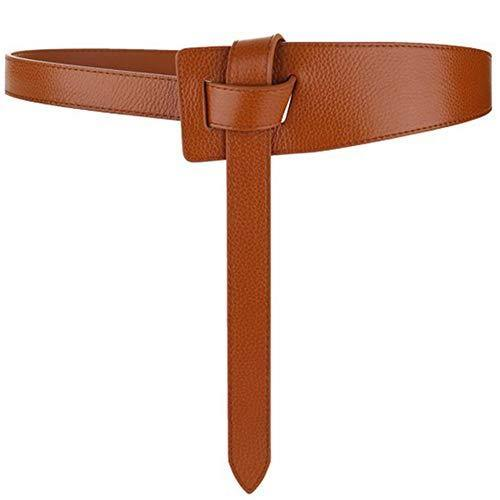 ALAIX Women's Leather Belt Dress Belt for Jeans Jumpsuit Coat Fashion Tie a Knot Genuine Leather Waist Belt Brown