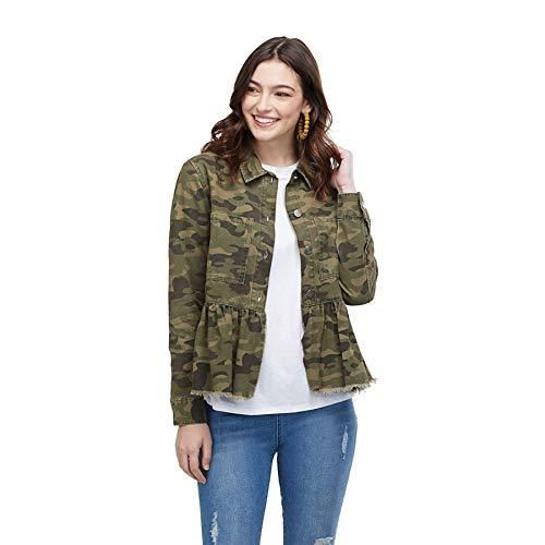 Mud Pie Women's Banks Jacket Green Camo (Small)