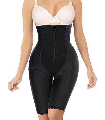 Nebility Women Waist Trainer Shapewear Zipper & Hook Body Shaper Shorts High Waist Butt Lifter Comfort Thigh Slimmer (XL, Black)