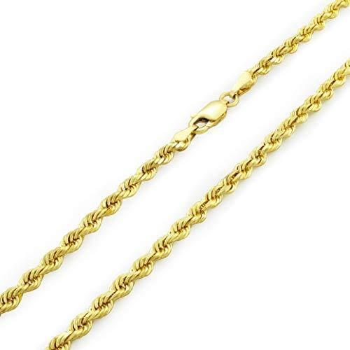 "14k Yellow Gold Solid 3mm Diamond Cut Rope Chain Pendant Necklace, 16""- 30"""