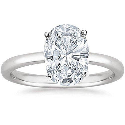 0.96 Near 1 Ct Oval Cut Solitaire Diamond Engagement Ring 14K White Gold (G Color SI3 Clarity)