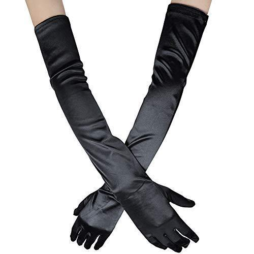 "Xuhan Women's 21"" Long Full Finger Evening Satin Gloves (Black)"