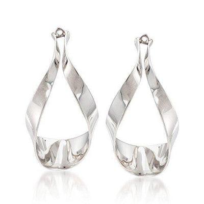 Ross-Simons Sterling Silver Ribbon Drop Earring Jackets For Women 925 2.4 Grams