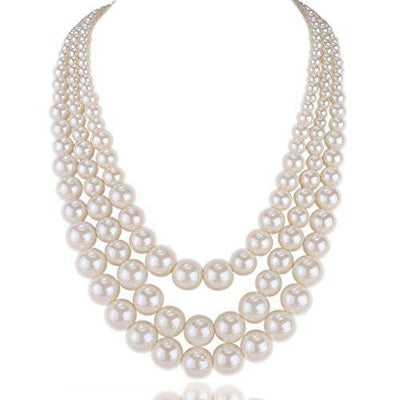 Kalse 3 Layers Strand Simulated Pearl Strand Bib Pendant Choker Chain Necklace (3 Strands)