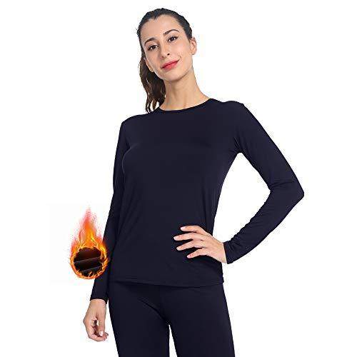 MANCYFIT Womens Thermal Tops Fleece Lined Shirt Long Sleeve Base Layer Black Medium
