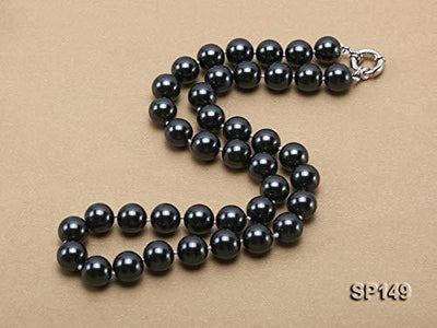 JYX Pearl Necklace Black South Sea Shell Pearl Necklace 12mm Round Shell Beads Single Strand Jewelry for Women 18''