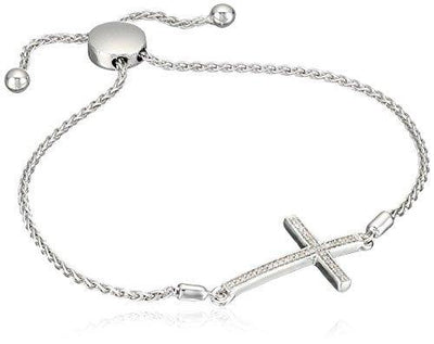 Jewelili Sterling Silver 1/10cttw Natural White Diamond Cross Bolo Bracelet, 9.5 Inches