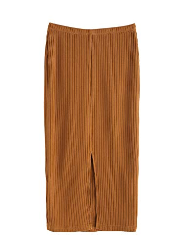 SheIn Women's Basic Plain Stretchy Ribbed Knit Split Full Length Skirt Camel ,Medium